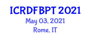 International Conference on Recent Developments in Food and Beverage Packaging Technologies (ICRDFBPT) May 03, 2021 - Rome, Italy
