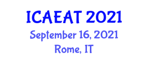 International Conference on Renewable Energy in Agricultural Technologies (ICAEAT) September 16, 2021 - Rome, Italy