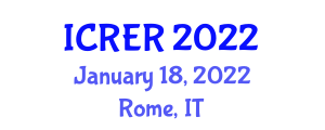 International Conference on Renewable Energy Research (ICRER) January 18, 2022 - Rome, Italy