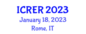 International Conference on Renewable Energy Research (ICRER) January 18, 2023 - Rome, Italy
