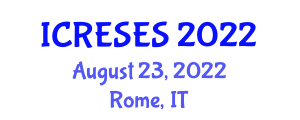 International Conference on Renewable Energy Sources and Energy Storage (ICRESES) August 23, 2022 - Rome, Italy