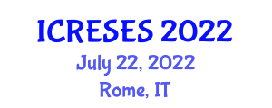 International Conference on Renewable Energy Sources and Energy Storage (ICRESES) July 22, 2022 - Rome, Italy
