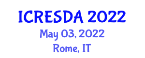 International Conference on Renewable Energy System Design and Applications (ICRESDA) May 03, 2022 - Rome, Italy