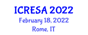 International Conference on Renewable Energy Systems and Applications (ICRESA) February 18, 2022 - Rome, Italy