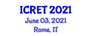 International Conference on Renewable Energy Technologies (ICRET) June 03, 2021 - Rome, Italy