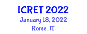International Conference on Renewable Energy Technology (ICRET) January 18, 2022 - Rome, Italy