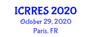 International Conference on Research in Renewable Energy Sources (ICRRES) October 29, 2020 - Paris, France