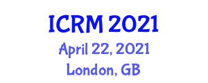 International Conference on Robotic Mapping (ICRM) April 22, 2021 - London, United Kingdom