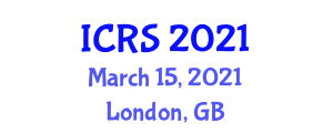International Conference on Robotic Sensors (ICRS) March 15, 2021 - London, United Kingdom