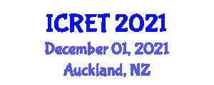 International Conference on Robotics Engineering Technology (ICRET) December 01, 2021 - Auckland, New Zealand