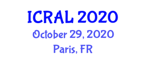 International Conference on Robotics in Agriculture and Lidar (ICRAL) October 29, 2020 - Paris, France