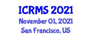 International Conference on Rock Mechanics and Seismology (ICRMS) November 01, 2021 - San Francisco, United States