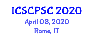 International Conference on Stratospheric Chemistry and Polar Stratospheric Clouds (ICSCPSC) April 08, 2020 - Rome, Italy