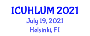 International Conference on Urban Hinterlands and Land-Use Mapping (ICUHLUM) July 19, 2021 - Helsinki, Finland